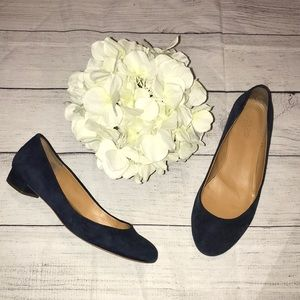 J. Crew Lily Suede Covered-Heel Flats Blue